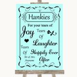 Aqua Hankies And Tissues Customised Wedding Sign