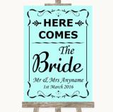 Aqua Here Comes Bride Aisle Sign Customised Wedding Sign