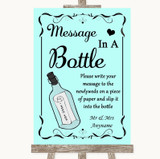 Aqua Message In A Bottle Customised Wedding Sign