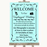 Aqua No Phone Camera Unplugged Customised Wedding Sign