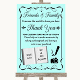 Aqua Photo Guestbook Friends & Family Customised Wedding Sign