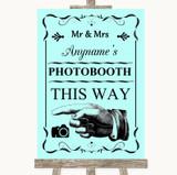 Aqua Photobooth This Way Left Customised Wedding Sign