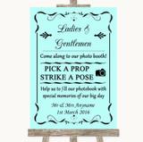 Aqua Pick A Prop Photobooth Customised Wedding Sign