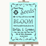 Aqua Plant Seeds Favours Customised Wedding Sign