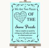 Aqua Puzzle Piece Guest Book Customised Wedding Sign