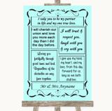 Aqua Romantic Vows Customised Wedding Sign