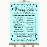 Aqua Rules Of The Wedding Customised Wedding Sign