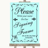 Aqua Signing Frame Guestbook Customised Wedding Sign