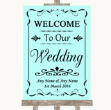 Aqua Welcome To Our Wedding Customised Wedding Sign