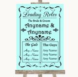 Aqua Who's Who Leading Roles Customised Wedding Sign