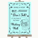 Aqua Wishing Well Message Customised Wedding Sign