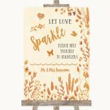 Autumn Leaves Let Love Sparkle Sparkler Send Off Customised Wedding Sign
