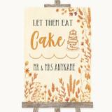 Autumn Leaves Let Them Eat Cake Customised Wedding Sign