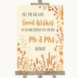 Autumn Leaves Blow Bubbles Customised Wedding Sign