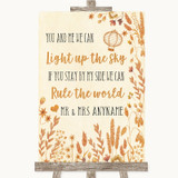 Autumn Leaves Light Up The Sky Rule The World Customised Wedding Sign