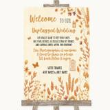 Autumn Leaves No Phone Camera Unplugged Customised Wedding Sign