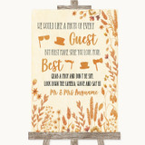 Autumn Leaves Photo Prop Guestbook Customised Wedding Sign