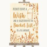 Autumn Leaves Bucket List Customised Wedding Sign