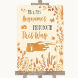Autumn Leaves Photobooth This Way Right Customised Wedding Sign