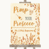 Autumn Leaves Pimp Your Prosecco Customised Wedding Sign