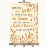 Autumn Leaves Plant Seeds Favours Customised Wedding Sign