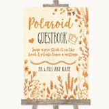 Autumn Leaves Polaroid Guestbook Customised Wedding Sign
