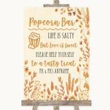 Autumn Leaves Popcorn Bar Customised Wedding Sign