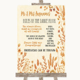 Autumn Leaves Rules Of The Dance Floor Customised Wedding Sign
