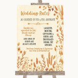 Autumn Leaves Rules Of The Wedding Customised Wedding Sign