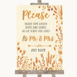 Autumn Leaves Share Your Wishes Customised Wedding Sign