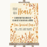 Autumn Leaves Sign a Heart Customised Wedding Sign