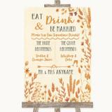 Autumn Leaves Signature Favourite Drinks Customised Wedding Sign