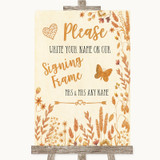 Autumn Leaves Signing Frame Guestbook Customised Wedding Sign