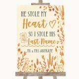 Autumn Leaves Stole Last Name Customised Wedding Sign