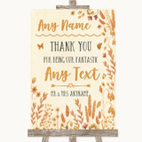 Autumn Leaves Thank You Bridesmaid Page Boy Best Man Customised Wedding Sign