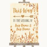 Autumn Leaves This Way Arrow Left Customised Wedding Sign
