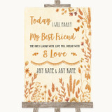 Autumn Leaves Today I Marry My Best Friend Customised Wedding Sign