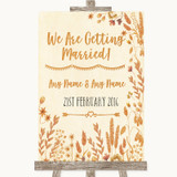Autumn Leaves We Are Getting Married Customised Wedding Sign