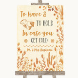 Autumn Leaves Wedding Blanket Scarf Customised Wedding Sign
