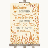 Autumn Leaves Welcome Order Of The Day Customised Wedding Sign