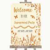 Autumn Leaves Welcome To Our Engagement Party Customised Wedding Sign