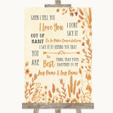 Autumn Leaves When I Tell You I Love You Customised Wedding Sign