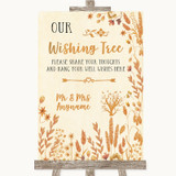 Autumn Leaves Wishing Tree Customised Wedding Sign