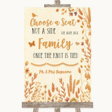 Autumn Leaves Choose A Seat We Are All Family Customised Wedding Sign