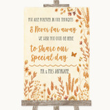 Autumn Leaves In Our Thoughts Customised Wedding Sign