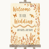 Autumn Leaves Welcome To Our Wedding Customised Wedding Sign