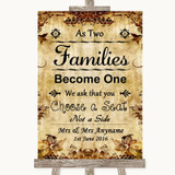 Autumn Vintage As Families Become One Seating Plan Customised Wedding Sign
