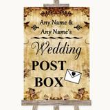 Autumn Vintage Card Post Box Customised Wedding Sign