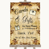 Autumn Vintage Cards & Gifts Table Customised Wedding Sign