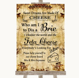 Autumn Vintage Cheese Board Song Customised Wedding Sign
